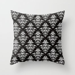 Damask Pattern | Vintage Patterns | Victorian Gothic | Black and White | Throw Pillow