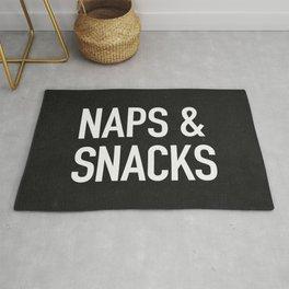 Naps and Snacks - black version Rug