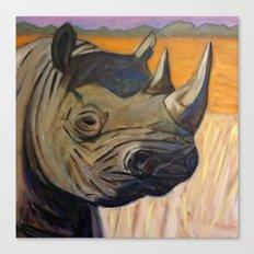 African Endangered Black Rhinoceros Canvas Print
