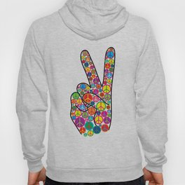 Cool Colorful Groovy Peace Sign and Symbols Hoody