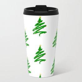 Minimalist Green Christmas Tree and Ornaments Doodle Pattern Travel Mug