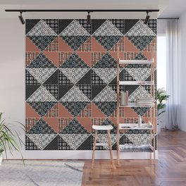 Multicolored black and brown patchwork . Wall Mural
