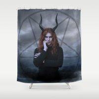 satan Shower Curtains featuring satan by tadzioautumn