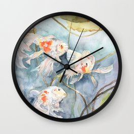 Koi Fish Painting, Underwater Water Lily Wall Clock