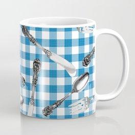Utensils on Blue Picnic Blanket Coffee Mug