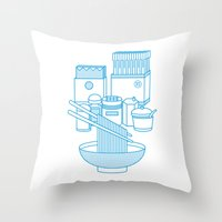 ramen Throw Pillows featuring Ramen Set by Design Made in Japan