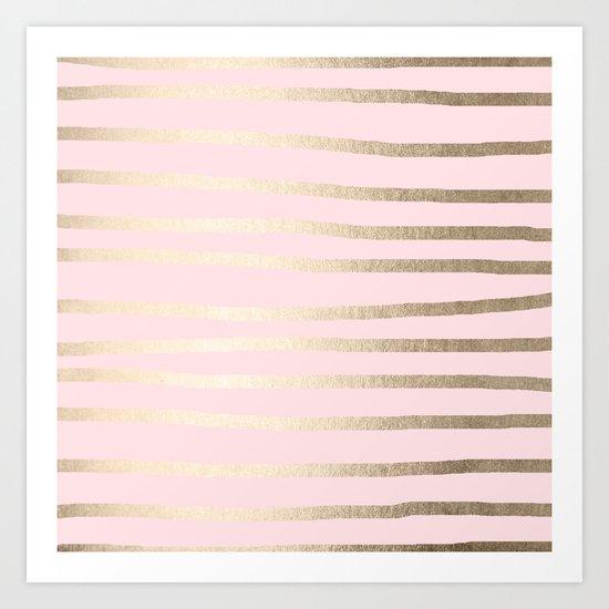 Drawn Stripes White Gold Sands on Flamingo Pink Art Print