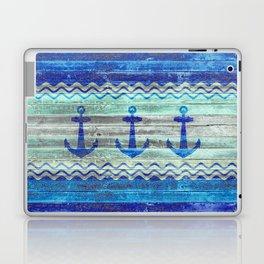 Rustic Navy Blue Coastal Decor Anchors Laptop & iPad Skin