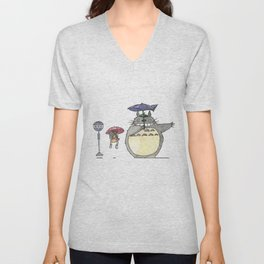 Toto ro Satsuki and Mei Bus stop scene Unisex V-Neck