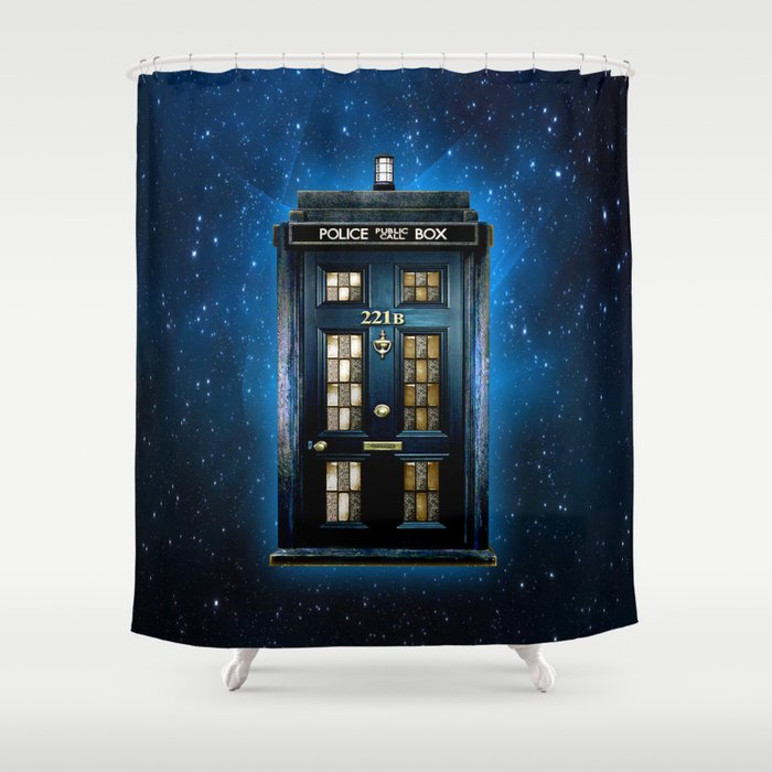 Awesome Tardis Doctor Who Mashup With Sherlock Holmes 221b Door Shower Curtain
