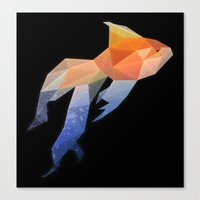 low poly Canvas Prints featuring Low Poly Fantail Goldfish  by The animals moved to - society6.com/dian