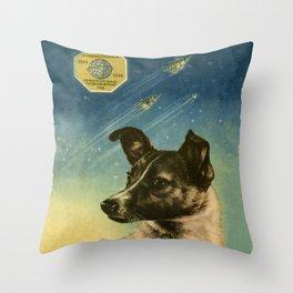 Laika — Soviet vintage space poster Throw Pillow