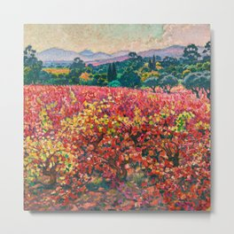Apple Orchards and Red Foliage Vines of October landscape painting by Theo van Rysselberghe Metal Print