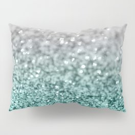 Silver Teal Ocean Glitter Glam #1 #shiny #decor #art #society6 Pillow Sham