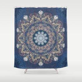 Blue's Golden Mandala Shower Curtain