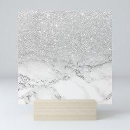 Modern faux grey silver glitter ombre white marble Mini Art Print