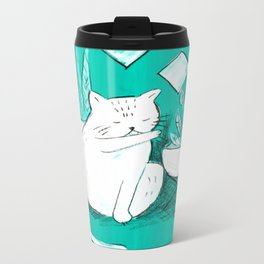 Turquoise Cat Metal Travel Mug