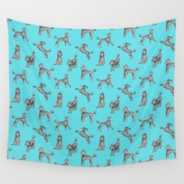 Gray Poodles Pattern (Blue Background) Wall Tapestry