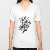 hibiscus V-neck T-shirts featuring Hibiscus by Erica Sanders