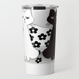 Black and White Cats on Sofa Christmas Travel Mug