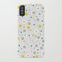 Floral Fancy in Sunshine and Sky iPhone Case