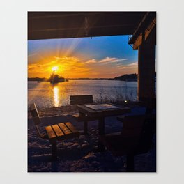 Winter Sunset at the Casco Bay Bridge Canvas Print