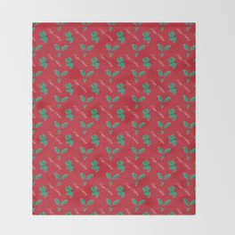 Holy Berry Happy Holidays Red Throw Blanket