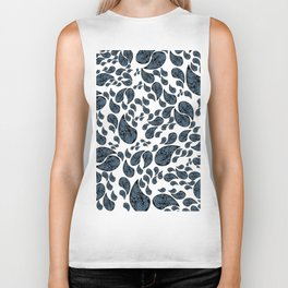 Paisley turquoise, black and white. Biker Tank