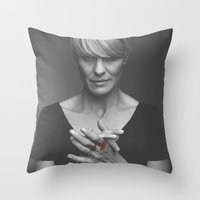 house of cards Throw Pillows featuring Claire Underwood / House of Cards by Earl of Grey