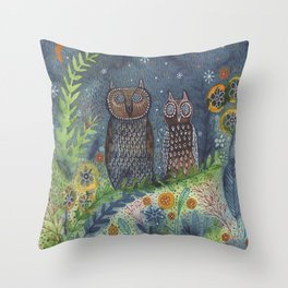 Twit Twoo, owl painting Throw Pillow