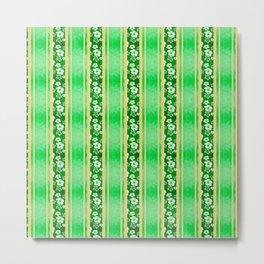 Green Hibiscus Honu Stripes Metal Print