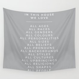In This House Diversity Acceptance Print - British English - Cobble Grey Wall Tapestry
