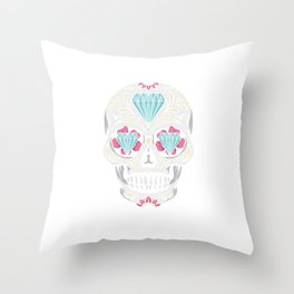 Sugar Skull Diamond United Kingdom UK Skull Throw Pillow