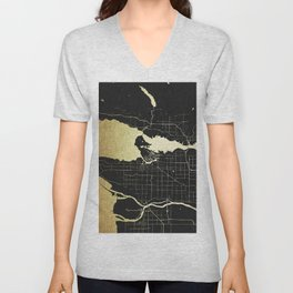 Vancouver Canada Black and Gold Map Unisex V-Neck