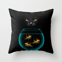 Black Cat Goldfish Throw Pillow