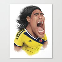 colombia Canvas Prints featuring Falcao - Colombia by Sant Toscanni