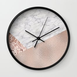 Expensive Pink   Rose Gold Marble Wall Clock