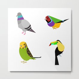 geometric bird print Metal Print