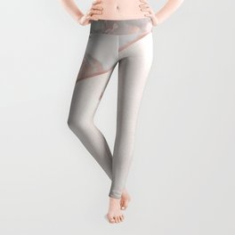 French polished rose gold marble & pearl Leggings