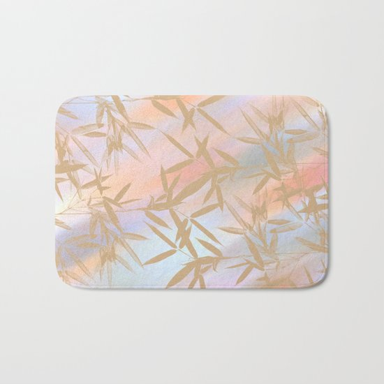 Floating Golden Leaves Abstract Bath Mat