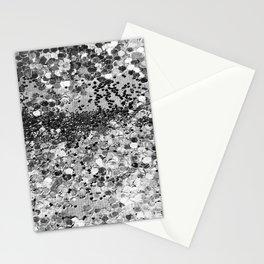 Sparkly Silver Glitter Confetti Stationery Cards