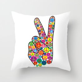 Cool Colorful Groovy Peace Sign and Symbols Throw Pillow