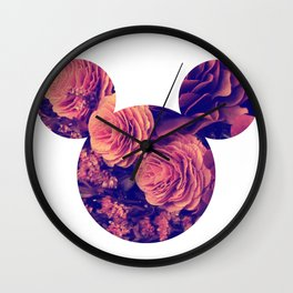 Mouse Flowers Wall Clock