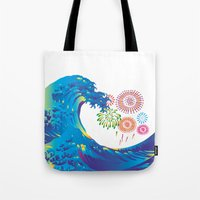 hokusai Tote Bags featuring Hokusai Rainbow & Fireworks  by FACTORIE