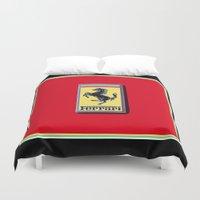 ferrari Duvet Covers featuring Ferrari Emblem by Adrienne Lea Photography
