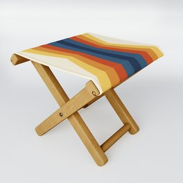 Bright 70's Retro Stripes Reflection Folding Stool