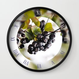 Chokeberries called aronia fruits Wall Clock