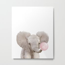 Baby Elephant Blowing Bubble Gum, Pink Nursery, Baby Animals Art Print by Synplus Metal Print