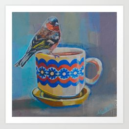 chaffinch and teacup  Art Print