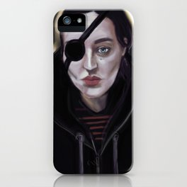 Pirate girl with eye patch and epaulettes iPhone Case